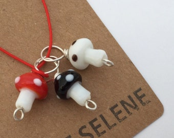 3 Toadstool stitch markers Red Black White