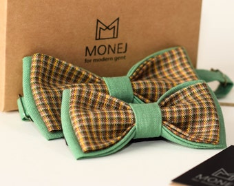 Father Son Bow Tie Set, Green Bow Ties, Linen Bowties, Limited Edition Bowtie, Dad Gifts, Fathers day, Custom bowtie