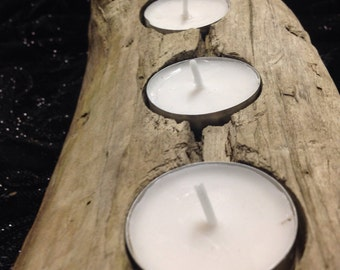 Rustic All Natural Driftwood Beachy Candleholder