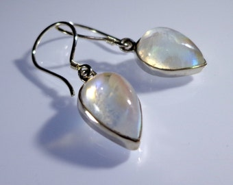 Magical Rainbow MoonStone Drop Earrings!  - Natural high qlty. gemstone! CONNECT with the powerful LUNAR energies in you!