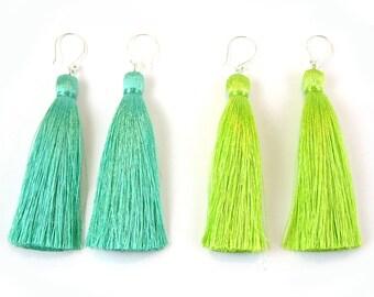 Silk Tassel Sterling Silver Earrings in Greens