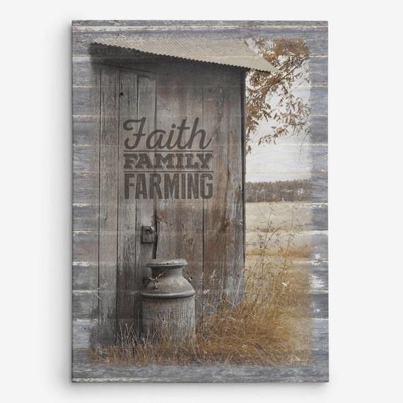 Rustic Farmhouse Wall Decor Faith Family Farming Canvas