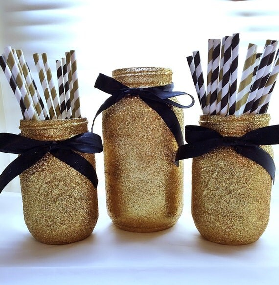 Black and gold mason jar set party by