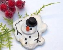 Snowman Brooch, Funny Christmas Pin, Christmas Snowman Brooch Pin, Melted Snowman, Snowman Jewelry Pin