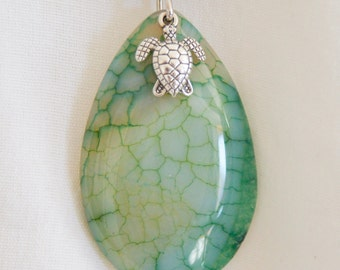 Turtle Charm and Dragon Vein Agate Pendant