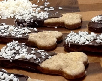 Dog Treats - Carob Dipped Coconut Cookies
