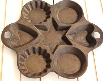 Vintage Cast Iron Tart Pan Vintage Ironwear Hearts Circles Star and Escalloped edges