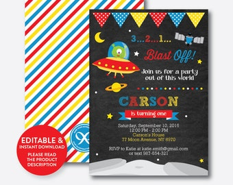 Instant Download, Editable Alien Birthday Invitation, Alien Invitation, Outer Space Invitation, Alien Party Invitation, Chalkboard (CKB.68)