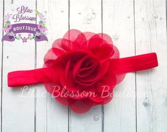 Red Chiffon Flower Headband, Baby Headband, Newborn Headband, Red Baby Bow, Baby Girl Headband, Shabby Chic Headbands, Red Infant Headband