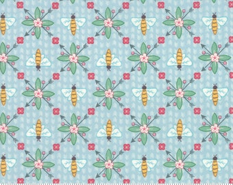 Bumble Berries Bees Light Blue Fabric - The Jungs - Moda - by the half yard - 100% Cotton-blue, green