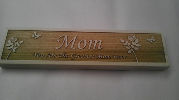 Name plate for mom Personalized engraved wooden name plate