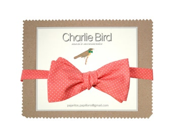 Coral bow tie with dots