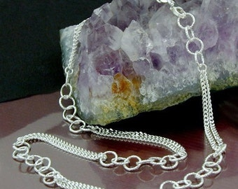 Fantasy chain with hammered rings, silver 925