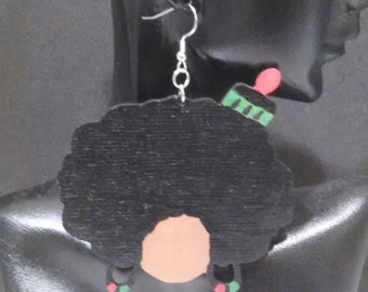 "Big Afro Hair Lady/ ""Afro-American"" Diva Earrings MADE TO ORDER"