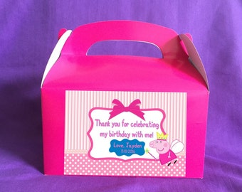 Personalized Peppa Pig Treat Boxes