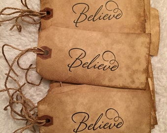 Set of 12 Primitive Believe Hang Tags