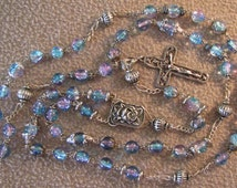 Handmade Rosary Beautiful Pink/Purple/Blue Glass Beads with Caps .925 Sterling Silver Crucifix