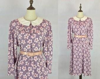 Adorable Vintage Japanese Floral Dress / Daisy Dress / Peter Pan Collar Bow Dress / Purple Dress / Made in Japan / Size Medium Large