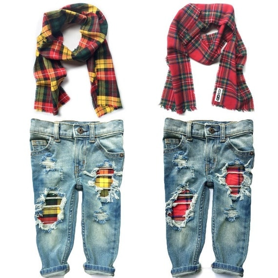 Scarf & Skinnies Set- one pair of jeans and one scarf- unisex