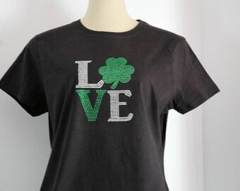 Rhinestone I Heart Shamrock St. Patrick's Day T- Shirt