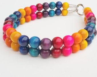 Carnival double Strand Wood Bead Dog Collars, Buckle Collars, Martingale Collars, Dog Beads UNBREAKABLE GUARANTEE!