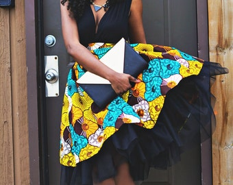 Ankara African Wax Print High Waist Tulle Gather Skirt