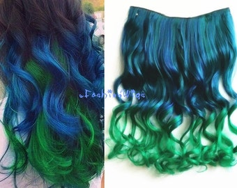 Blue to Green two Colors Ombre Hair Extension, Synthetic Hair extensions UF310