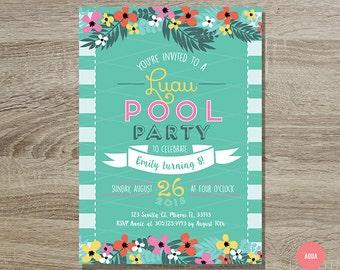 Luau Pool Party Birthday Invitation Printable // 5x7 Yellow and Teal Floral Luau Kids Birthday Party - Luau Birthday Invitation - Pool Party