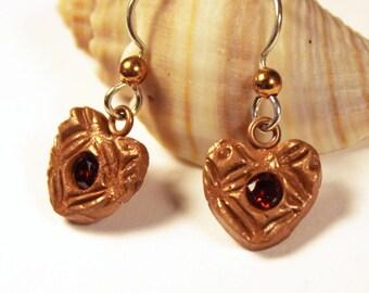 Heart Earrings, Copper Heart Earrings, Copper Earrings, Heart Jewelry, Heart Dangle Earrings, Red Heart Earrings