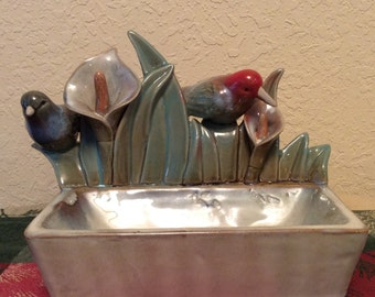Pottery birds dish