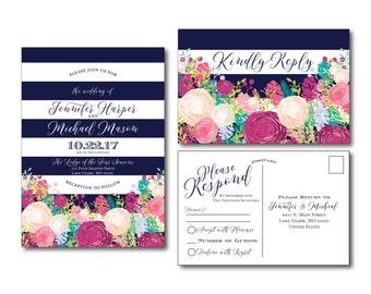 Floral Invitation & RSVP Postcard Set - Floral Wedding - Navy Stripes - Watercolor Floral - Rustic Wedding - Printed Wedding Set