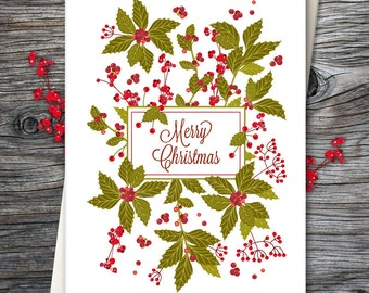 Holiday Card, Mistletoe, Blank Holiday Card, Greeting Card, Christmas Greeting Card, Mistletoe Greeting Card, Christmas Card - Card No. 14