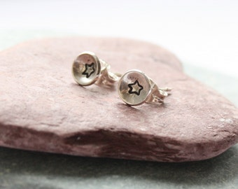 sterling silver earrings, silver studs, hand stamped earrings, star earrings, gift for her