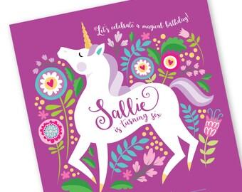 Unicorn Invitation, Printable, Customized text, DIY invitation, Girl's Unicorn Party, Floral Unicorn Invite