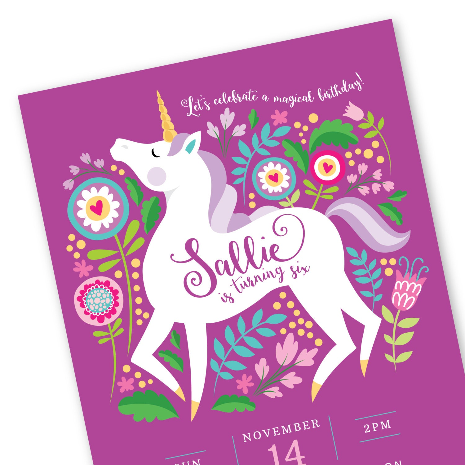 Unicorn Invitation Printable Customized text DIY