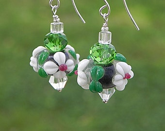 Flower Earrings Green Earrings Lampwork Earrings Glass Floral Earrings Fun Earrings Beadwork Jewelry Bright Jewelry Nature Earrings