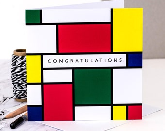 Congratulations Card; Mondrian; Art Card; Artist Card; Congrats Card; Art Lover Card; Geometric; GC208