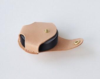 Leather lens cap holder, Hand stitched genuine Italian veg-tan Leather