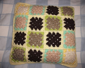 Crochet granny squares cushion cover with button fastening, conservatory, garden room, caravan, brown, green & cream