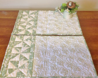 Spring Green Pieced and Quilted Placemats - Set of 2, Reversible