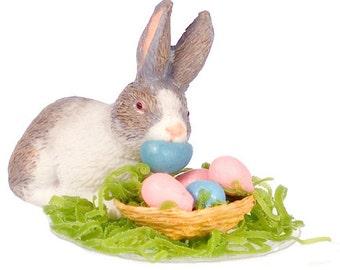 DOLLHOUSE MINIATURE Eggs Stealer Bunny #JU1142