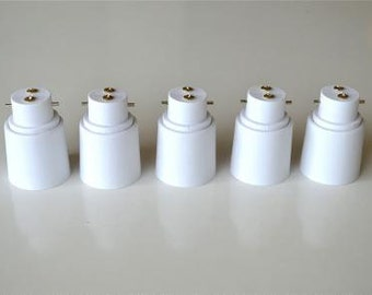 A set of 5 B22 to E27 light bulb adaptor bayonet bulb Edison bulb conversion holder BE1