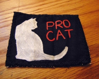 Handpainted Pro Cat Patch | Pro Cat Patch | Sew On Patches | Pro Cats | Cats | Punk | Crust Punk Patches