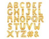 """14"""" Metallic Gold Letter Balloons, Gold Number Balloons, Alphabet Letter Balloons, Number Balloons, Custom Name Balloons, Air Filled Balloon"""