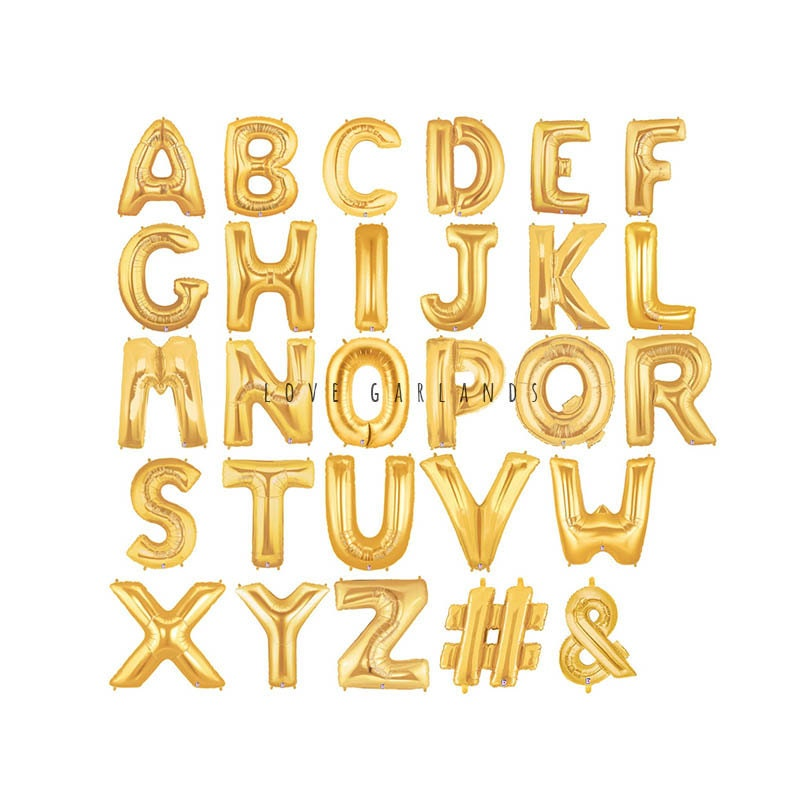 14quot metallic gold letter balloons gold number balloons With metallic gold letters