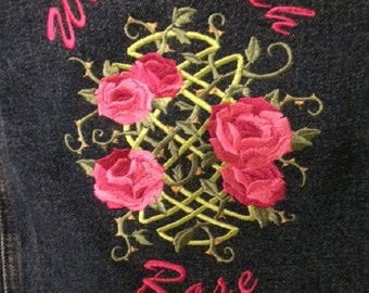 Embroidered Denim Jacket Celtic Design Wild Irish Rose