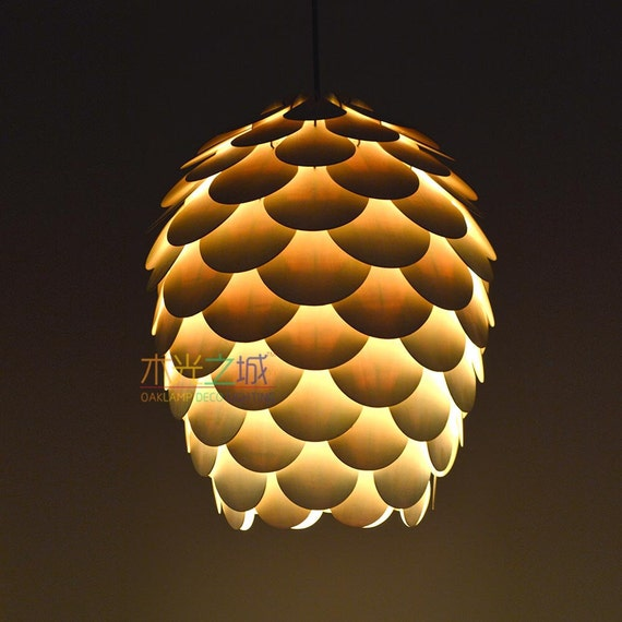 Wood Pendant Lightingpine Cone Pendant Lamp Hanging By Oaklamp