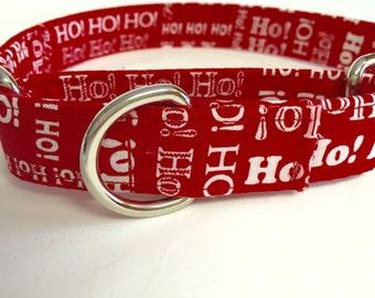 Martingale dog collar, choke free collar, training collar, puppy collar, buckle less collar, ho ho ho collar, Christmas collar, red collar