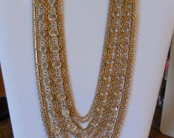 Vintage 1960s Kramer Multi Strand Open Back Crystal Necklace Clip Earrings Demi Parure