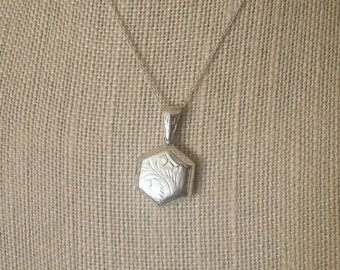 Vintage Sterling Silver Hexagon  Locket Necklace, Antique Engraved Photo, 22 inch 925 Chain
